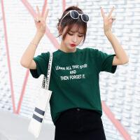新款韩版夏装上衣简约百搭圆领字母T恤女夏短袖打底体恤半袖