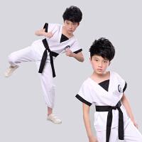 男女功夫比赛舞蹈散打练功服儿童表演服武术演出短袖服装