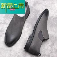 新品上市意大利套脚鞋男士英伦休闲皮鞋一脚蹬懒人男鞋真皮灰色潮鞋子