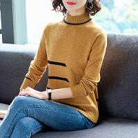 新年特惠打底衫女短款毛衣女套头半高领加厚2019新款宽松条纹撞色打底衫上衣针织衫