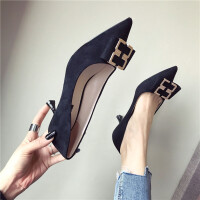 春季时尚韩版复古风女士搭扣舒适百搭高跟鞋新款浅口尖头细跟女鞋