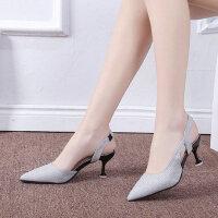中跟高跟鞋女时尚鞋尖头性感单鞋女细跟中空亮片宴会鞋