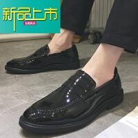 新品上市春季鞋男一脚蹬男士休闲小皮鞋英伦青年懒人个性豆豆鞋潮