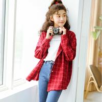 新年特惠港风格子衬衫女2019秋季韩范宽松BF学生ulzzang外套格纹衬衣 酒红色 均码