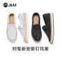 jm快乐玛丽2020秋季新款潮铆钉松糕一脚蹬厚底帆布鞋渔夫女鞋