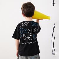 【6折价:143.4元】马拉丁童装男大童T恤2020夏装新款艺术感满印别布拼接短袖T恤