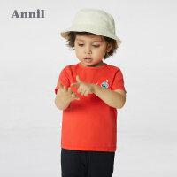 【2件4折价:87.6】安奈儿男童夏季套装2021新款时髦宝宝童装两件套纯棉小童T恤短裤