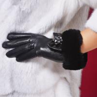 山羊皮真皮蝴蝶结  水钻獭兔毛皮手套女士 新款毛口