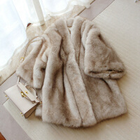 重磅 冬装仿水貂毛中长款保暖加厚皮草外套女裘皮大衣斗篷 原色