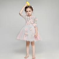儿童晚礼服花童礼服女童长袖蓬蓬婚纱公主裙演出服
