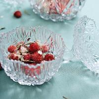 欧式创意水晶玻璃果盘带盖糖罐储物消磁碗点心盘糖果盒家用装饰