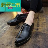 新品上市英伦雕花男鞋复古擦色休闲鞋韩版潮流型师增高尖头小皮鞋