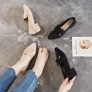 ZHR2019春季新款韩版尖头粗跟单鞋浅口休闲鞋百搭网红学生女鞋子