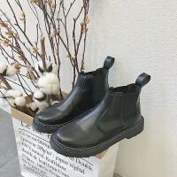 短靴女2018秋季新款韩版chic英伦风马丁靴潮学生平底百搭切尔西靴 黑色
