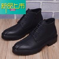 新品上市男靴子韩版皮靴英伦尖头马丁靴男高帮皮鞋内增高短靴工装靴子