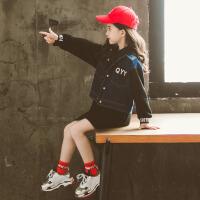 儿童套装 女童时尚牛仔长袖外套2020春秋季新款洋气韩版学生中大童卫衣裙子两件套