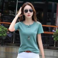 短袖T恤女夏季新款韩版修身显瘦小V领纯色打底插肩袖体恤衫