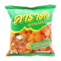 泰国进口 卡啦哒 Carada 加油啦香辣烧烤虾味米球(膨化食品)17g