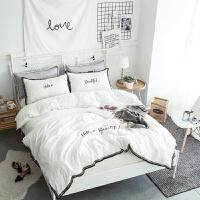 简约水洗全棉三四件套床上用品床单被子被套少女心公主风学生宿舍定制 2.0m(6.6英尺)床 床笠款