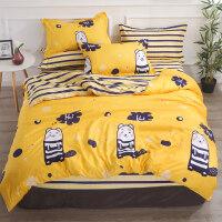 水洗棉网红床单被套单件2件套被罩1.5m1.8米单双人床上三件四件套