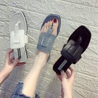 外穿百搭懒人女士拖鞋 时尚夹脚凉拖鞋女 新款平底蓝灰色人字拖鞋沙滩拖鞋
