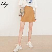 Lily春新款女装不规则素色修身A字短裙半身裙119130C6203