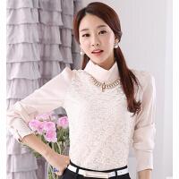 新款时尚百搭高领打底衫女长袖韩版修身雪纺衫蕾丝衬衣潮