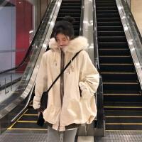 2019新款冬季韩版大毛领宽松加厚女中长款休闲工装棉衣外套女 均码
