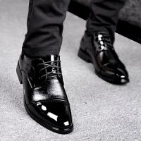 商务正装休闲皮鞋秋冬款漆皮英伦男鞋镂空系带皮鞋男士结婚鞋