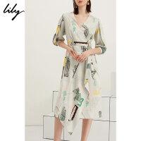 【25折到手价:324.75元】 Lily20夏新款女V领不规则几何印花长款修身连衣裙119220C7526