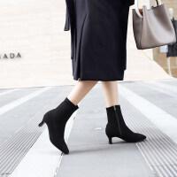 欧美秋冬2019新款方头瘦瘦靴弹力袜靴中跟女短靴细跟高跟马丁靴女 黑色(单里)