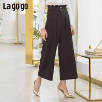 【5折价147】Lagogo2019春季新款裤子宽松七分裤纯色OL高腰阔腿裤女IAKK532M63