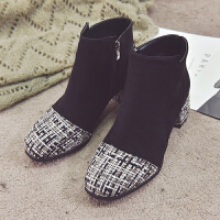 马丁靴女2018新款复古英伦风粗跟短靴及踝靴加绒时尚拼接高跟女靴