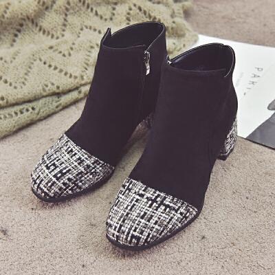 马丁靴女2018新款复古英伦风粗跟短靴及踝靴加绒时尚拼接高跟女靴   关注本店,七天无理由退换 更多特价商品点击进入