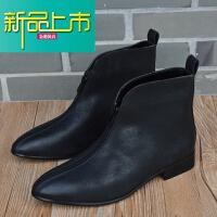 新品上市男士尖头皮靴短靴真皮拉链英伦男靴潮男高帮皮鞋韩版马丁靴工装靴