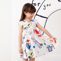 【秒杀价:180元】马拉丁童装女童连衣裙2020夏装新款印花图案白色儿童短袖裙子