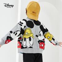 【今日3折�A估�r:86.4元】迪士尼男童�r尚卡通前�_毛衫2021春秋新款洋�馔��b�和�������衫