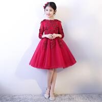 女童公主裙红色儿童礼服钢琴演出服女孩生日长袖花童婚纱裙蓬蓬纱