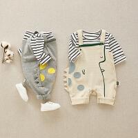 男宝宝春装婴儿背带裤套装潮新生儿春秋外出两件套女洋气