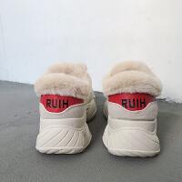 新款老爹鞋厚底加绒休闲鞋保暖韩版运动鞋2018冬季棉鞋百搭跑步鞋 米色 1858K