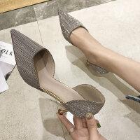 户外时尚细跟高跟鞋尖头凉鞋女百搭仙女风配裙子的鞋