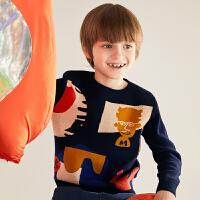 【3件7折价:167.3元】走秀同款,马拉丁童装男童毛衣秋装新款洋气印花套头针织衫