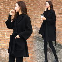 2019新款反季清仓黑色新款羊毛呢羊绒大衣女短款小个子大衣女毛呢外套女 黑色 2X