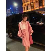 裙子女2019早秋新款女装韩版宽松休闲拼接长袖粉色衬衫连衣裙夏装