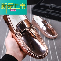 新品上市豆豆鞋男士漆皮英伦休闲男鞋一脚蹬懒人鞋舒适软底潮鞋