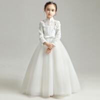儿童公主裙蓬蓬女童长袖花童晚礼服婚纱走秀演出服白纱裙春季